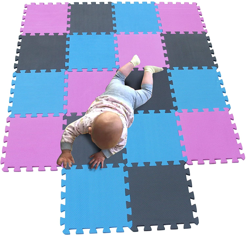 MQIAOHAM Children Puzzle mat Play mat Squares Play mat Tiles Baby mats for Floor Puzzle mat Soft Play mats Girl playmat Carpet Interlocking Foam Floor mats for Baby Pink Blue Grey 103107112