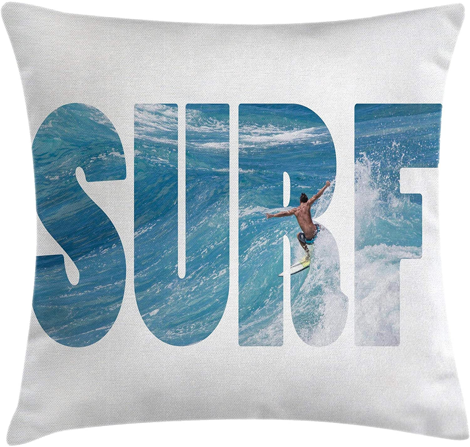 Ambesonne Surf Throw Pillow Cushion Cover, Surfer Riding Giant Majestic Ocean Wave in Hawaii Adrenalin Epic Athlete Sea Pacific, Decorative Square Accent Pillow Case, 18