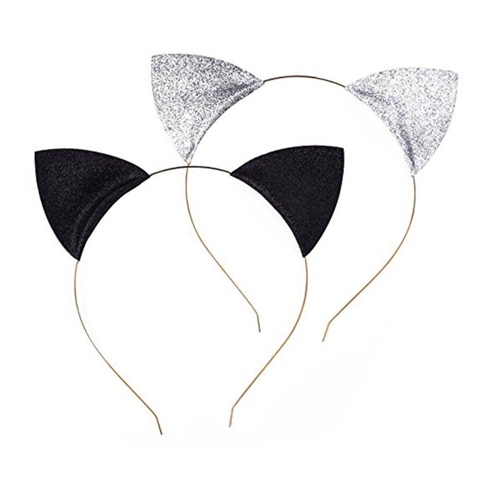 Frcolor Cat Ear Headband, Glitter Cat Ears Hair Hoop Hairband Headband for Halloween Cosplay Costume Party, 2Pcs (Black + Silver)
