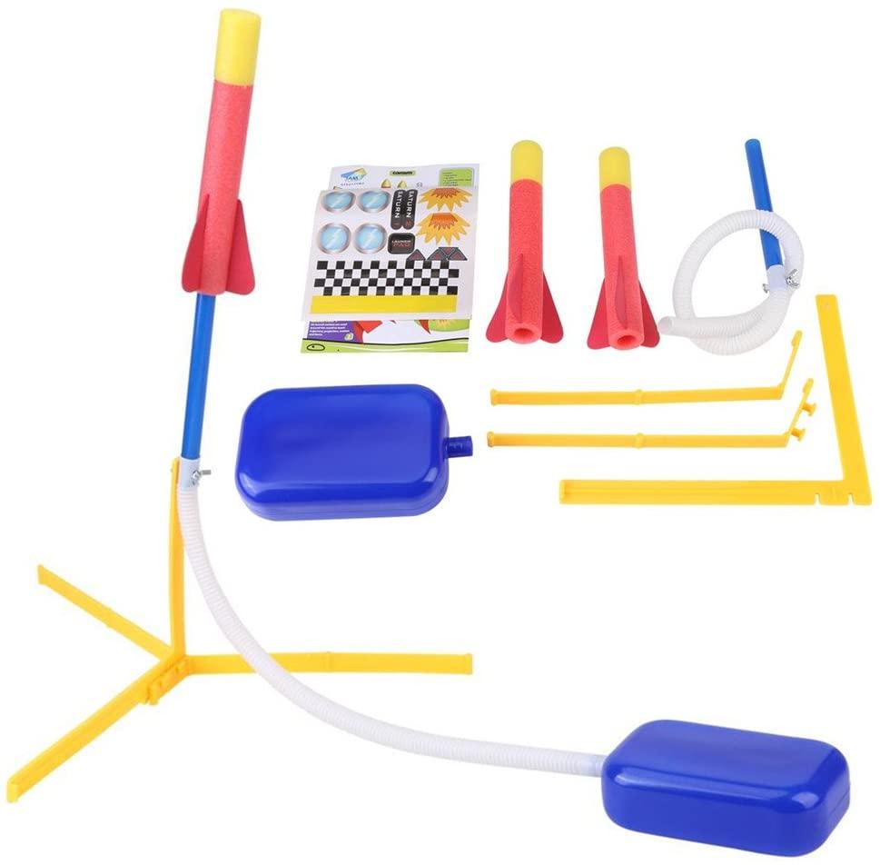 Foam Rocket,Foam Tipped Rocket Launcher Jump Foot Trigger with 2 Dart Outdoor Activity Play Kids Toy Set Boys Birthday Gift Outdoor Activity Play Kids Toy Set