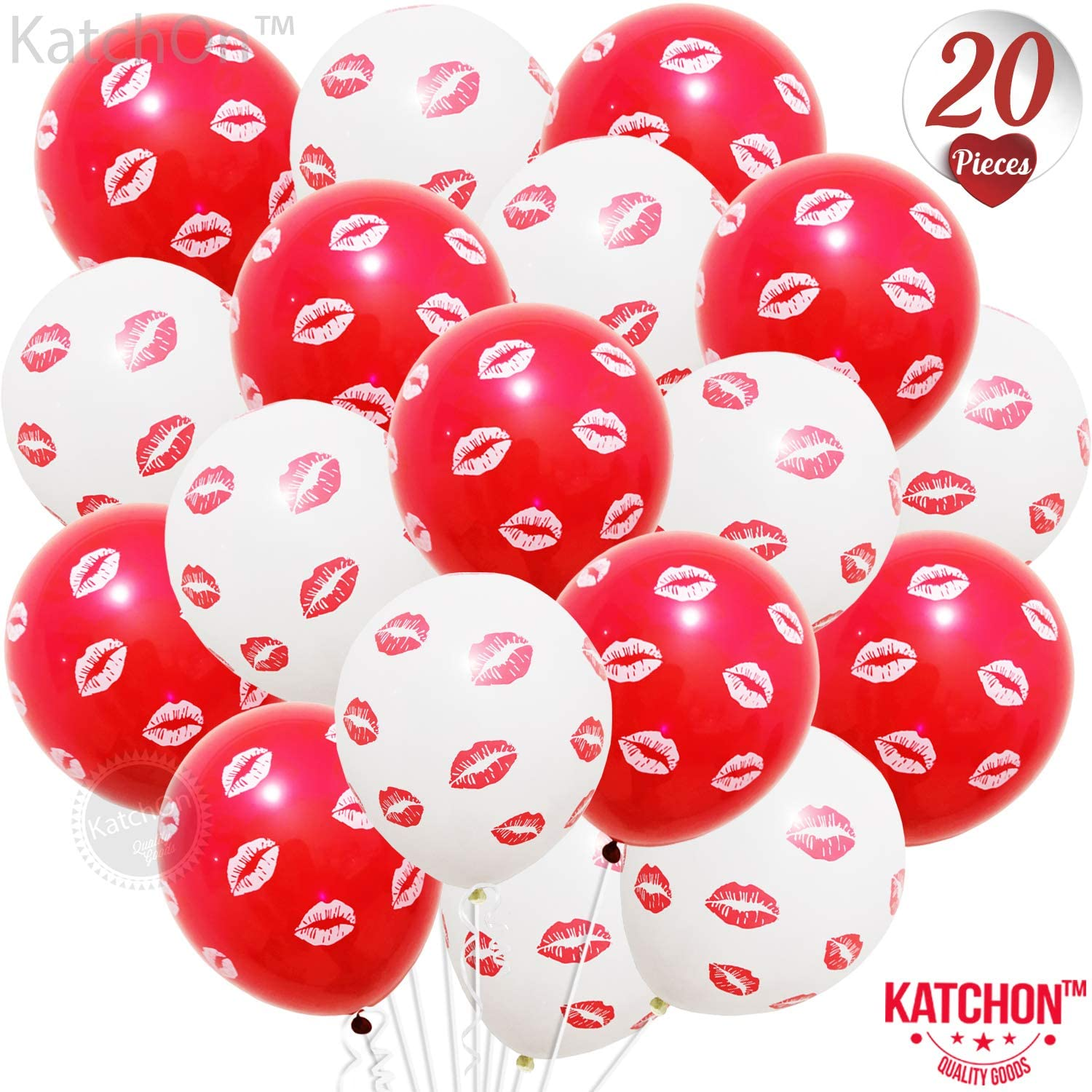 Red and White Kiss Lip Balloons Kit - Pack of 20 | Latex Red Lip Balloons | Valentine Balloons for Valentines Day Decorations | Romantic Red and White Balloons for Anniversary, Valentines Party Decor