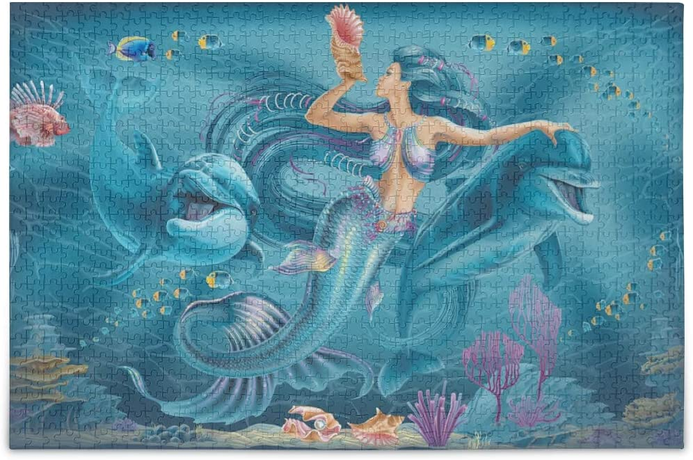 Jigsaw Puzzles 1000 Pieces for Adults Kids Mermaid Dolphins Ocean Life Pretty Pattern Game Artwork Toy Gifts Home Decor 2020036