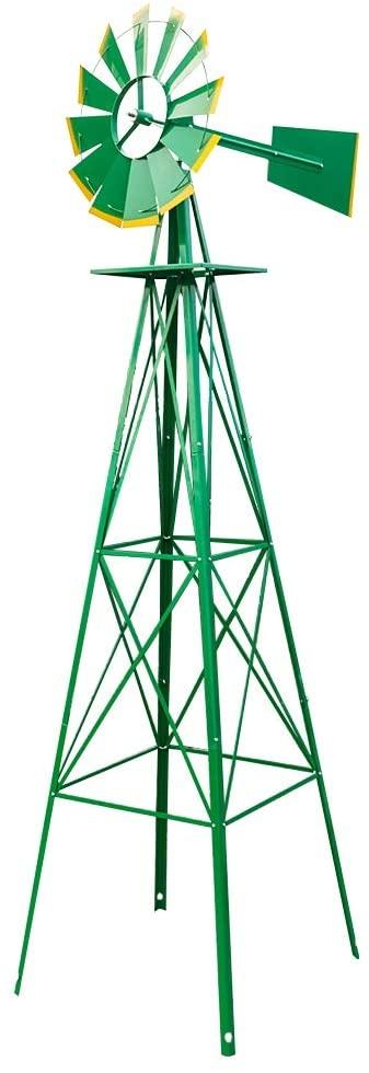 RBtoday 8FT Weather Resistant Yard Garden Windmill Green Ornamental Wind Mill Weather Vane, Steel Construction