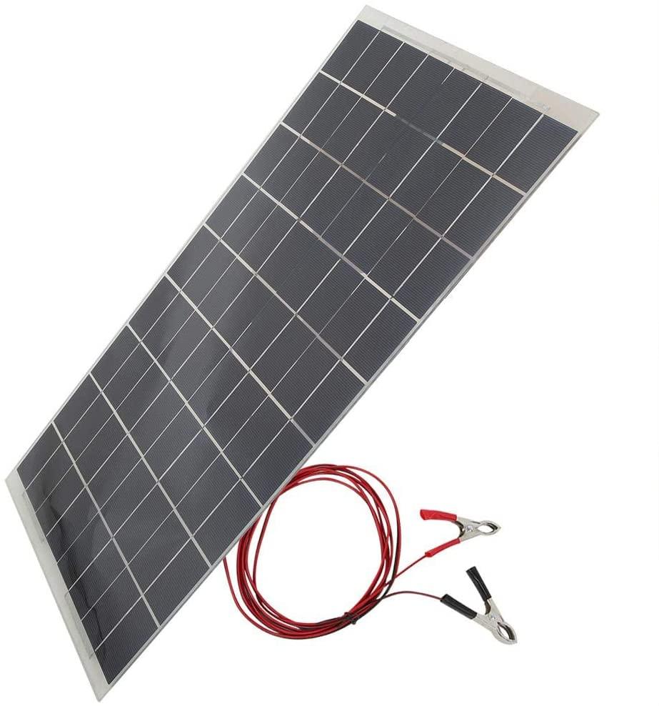 Solar Panel, 30W 12V Semiconductor Semi Flexible Solar Panel Equipment Car Battery Charger Black Solar Panel