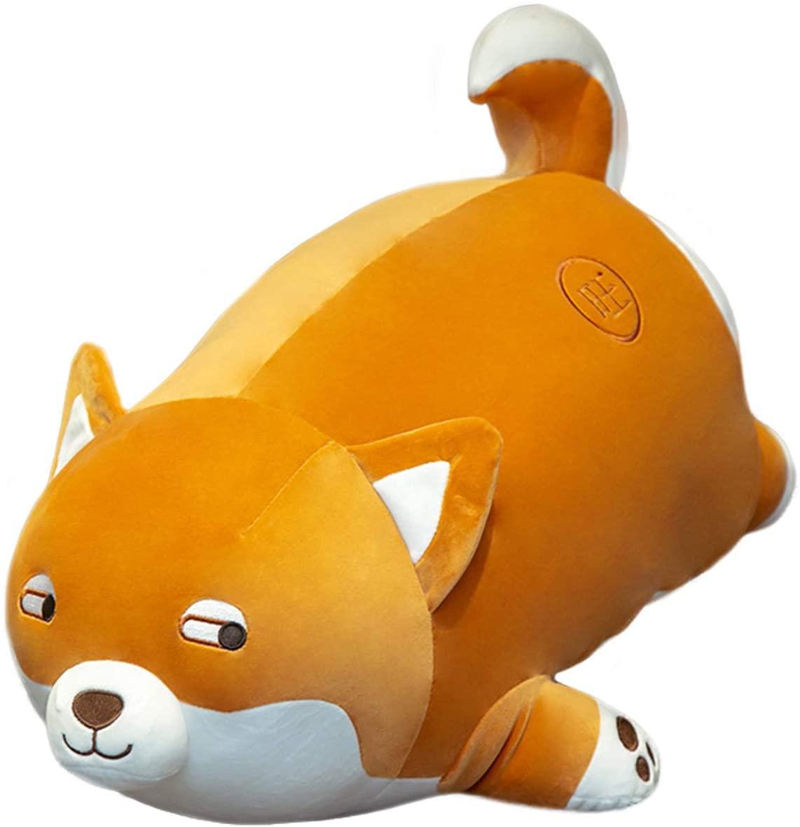 ELAINREN Fat Shiba Inu Dog Stuffed Animal Puppy Toy, 23.6Inch Corgi & Akita Dog Plush Soft Hugging Pillow Decor Gifts for Boys Girls Xmas Birthday/Brown