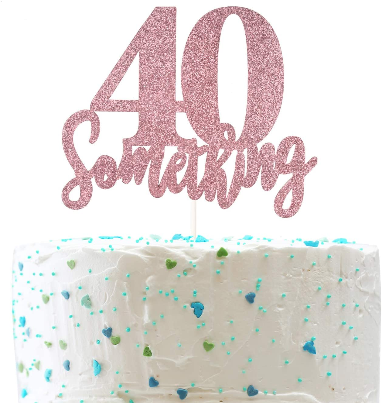 40 Something Cake Topper, Funny 40th Birthday, Cheers to 30 Years Party Decorations (Double Sided Rose Gold Glitter)