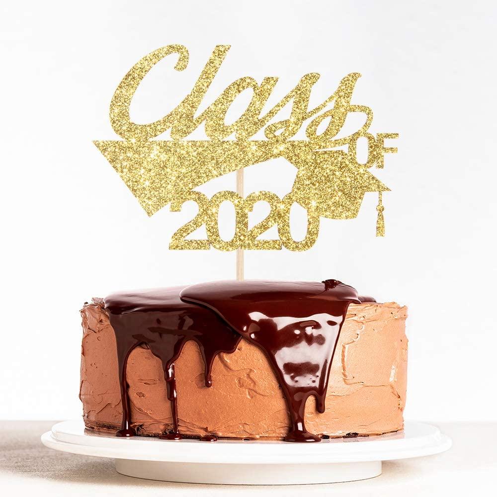 Gold Glitter Cap Class of 2020 Cake Topper for Congrats Grad, 2020 Graduation, College/High School Graduated Party Decoration