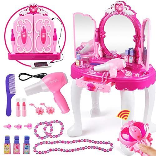 Yosoo Kids Vanity Playset, Girls Makeup Dressing Table Toy Princess Vanity and Stool Set with Magic Mirror Beauty Accessories for Toddler Children Christmas Birthday Gift