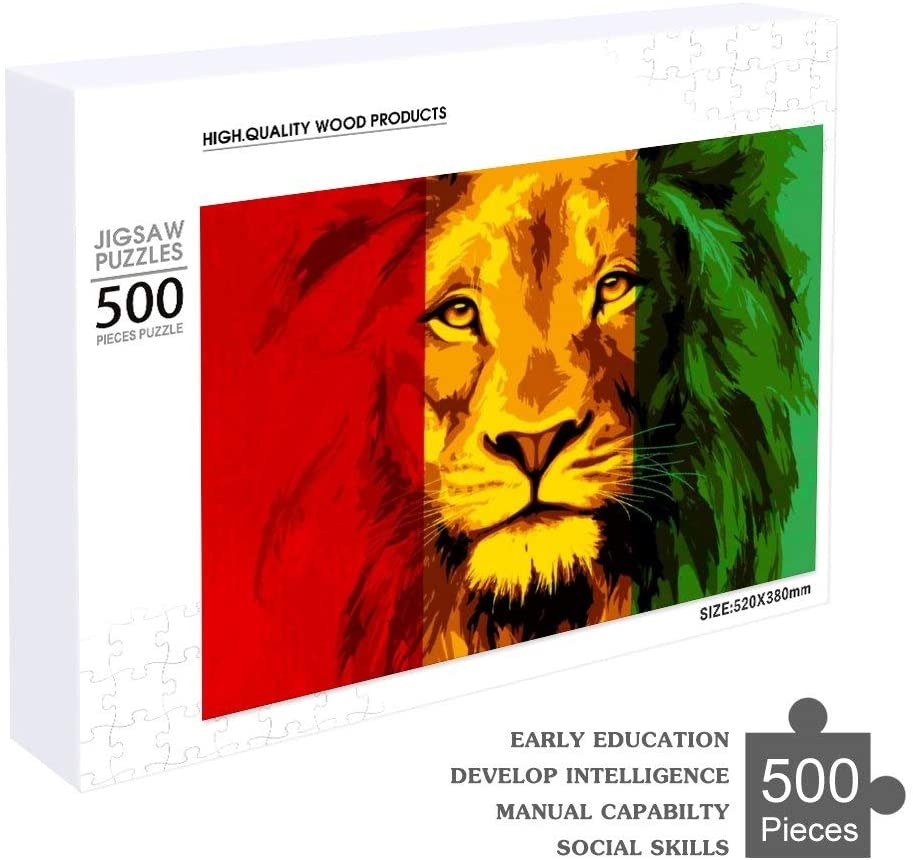 NiYoung Wooden Jigsaw Puzzles - Unique Shape Jigsaw Pieces Best Gift for Adults and Kids Reggae Rasta Flag Lion