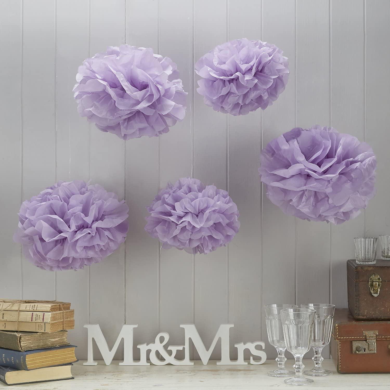 Sorive Lilac Tissue Paper Pom Poms 5 Pack Wedding & Party Decorations - Vintage Lace SRI01869