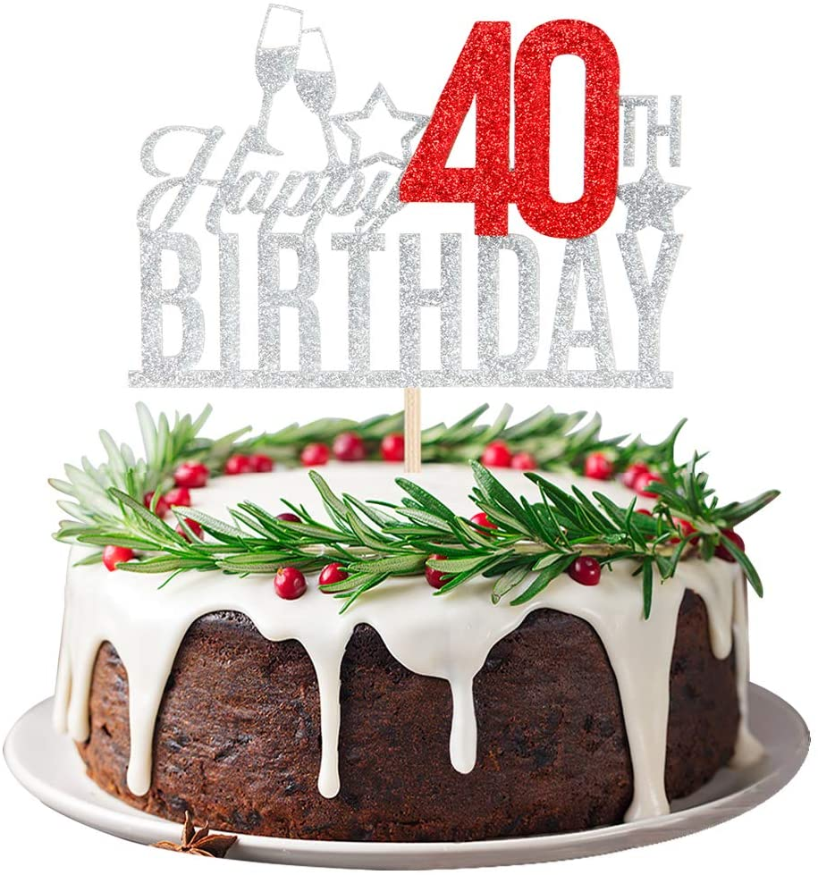 Happy 40th Birthday Cake Topper - Forty-year-old Cake Topper, 40th Birthday Cake Decoration, 40th Birthday Party Decoration (Silver and Red)