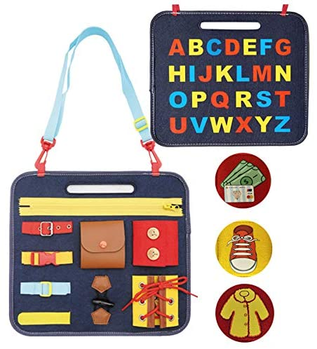 Ablita Busy Board Toys Educational for Toddlers Foldable Sensory Toys Autism Toys Bag Desgin Toddler Activity Board