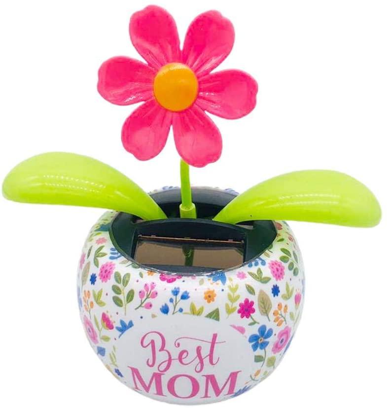 Huiyin Solar Automatic Swing Flower Pot Decoration,Solar Powered Dancing Flower Swinging Animated Bobble Dancer Toy Car Decor Flower Decoration for Kids Toys Gift