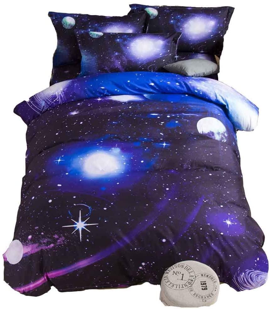 MZPRIDE 3d Mysterious Boundless Universe Purple Sky Twinkling Stars Bedding Sets Bedlinen Duvet/Quilt Cover Set Twin by MZPRIDE