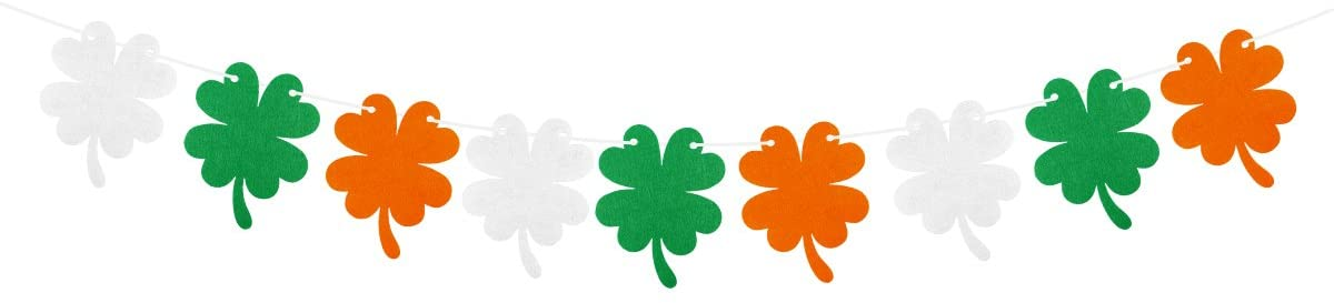 OULII Irish Shamrock Four-Leave Clover String Banners Bunting Garland for St. Patrick's Day Decorations St Paddy's Decor