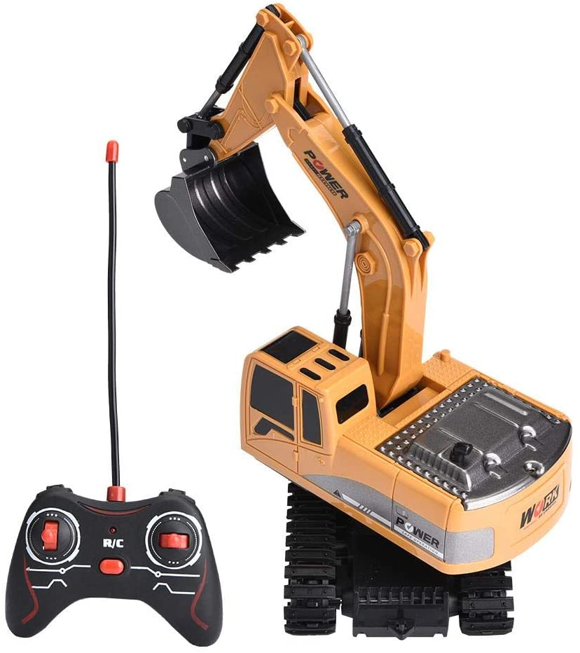 Focket Rechargeable RC Excavator, Birthday Gifts 1/24 Excavator Truck, Full Functional Excavator Toy for Toddlers for Children(Alloy Edition)