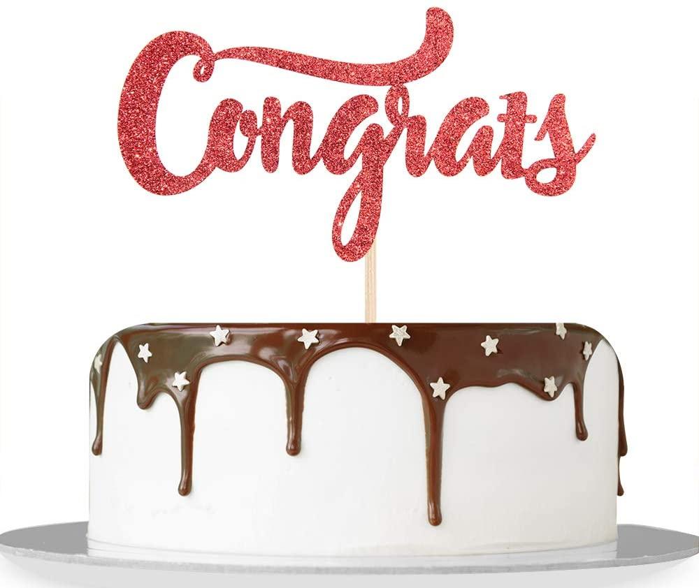 Red Glitter Congrats Cake Topper/Congrats Grad/Class of 2021 / College Grad/Congratulations/MBA Graduation Party Decorations