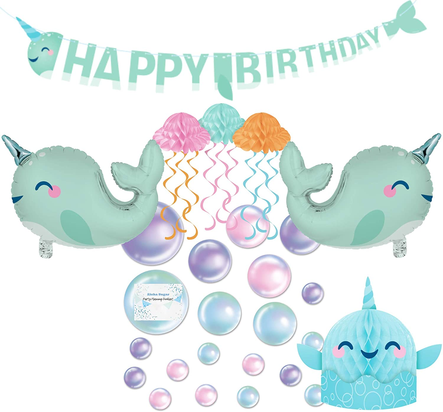 Narwhal Party Supplies and Decorations - Includes Narwhal Birthday Banner, Centerpiece, Jellyfish, Narwhal Balloons and Bubbles - Perfect Narwhal Birthday Party Decorations and Narwhal Birthday Party Supplies!