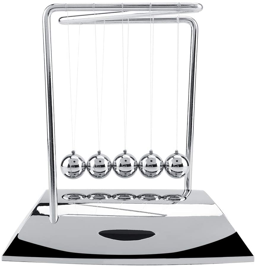 Newtons Cradle Balance, Steel Balls with Medium Base for Office Toys, Physics Toys, Teacher Toys, Steel Ball Toy Learning Toy Fun Gadget Pendulum for Office and Home Decoration