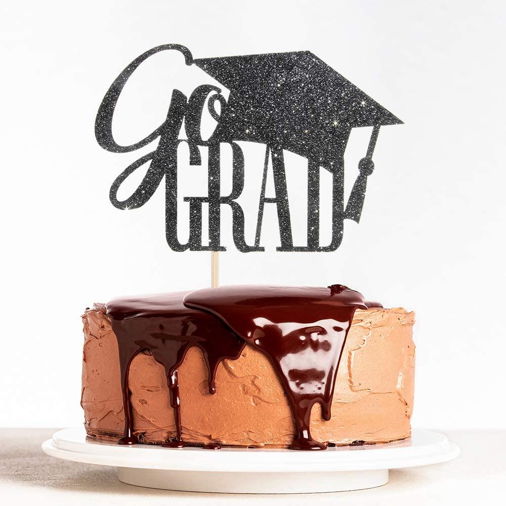 Black Glitter Go Grad Cake Topper for 2020 Graduation, Congrats Grad, College/High School Graduated Party Decoration