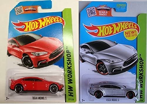 New for 2015 Hot Wheels Tesla S in Red and Silver