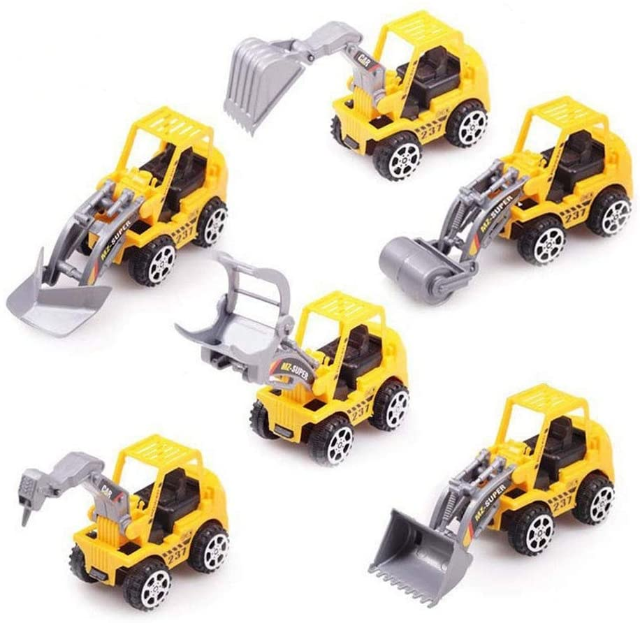 Deerbb 6 Pack Construction Truck Toys for 2 3 Years Old Boys Birthday Party Favors Supplies, Forklift, Excavation Truck, Earthmoving Vehicle, Bulldozer, Nail Truck, Grab Truck