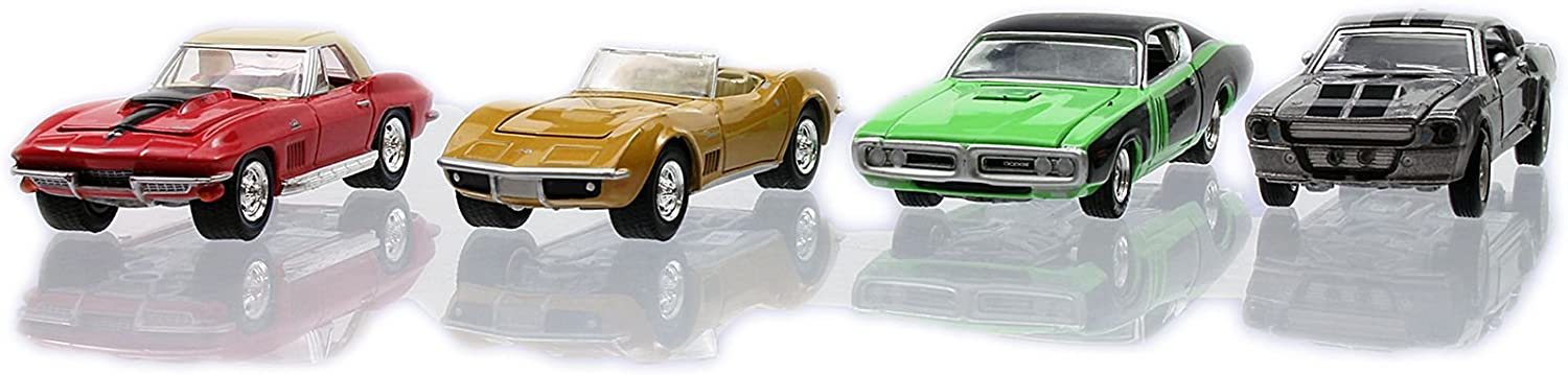 Greenlight Hollywood Film Reels 4 Cars Pack Gone in 60 Seconds 1974 & 2000 1/64 Car Model by