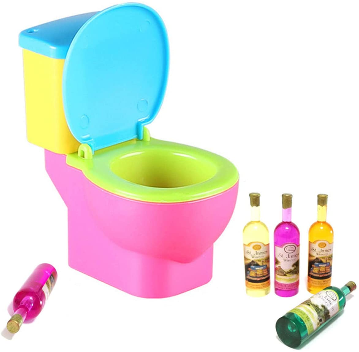 Funny Toilet Toy Cake Topper Miniature Toilet Colorful Small Toilet with Miniature Bottles for Birthday Bachelorette Wedding Party Cake Decorations (Small Toilet Random Color)