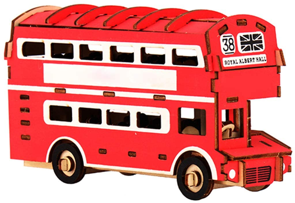 Aconka 3D Puzzle Wooden Kit, Red Double Decker Bus Wooden Puzzle Model Kits Educational Engineering Toys for Boys Girls Adults DIY Lovers