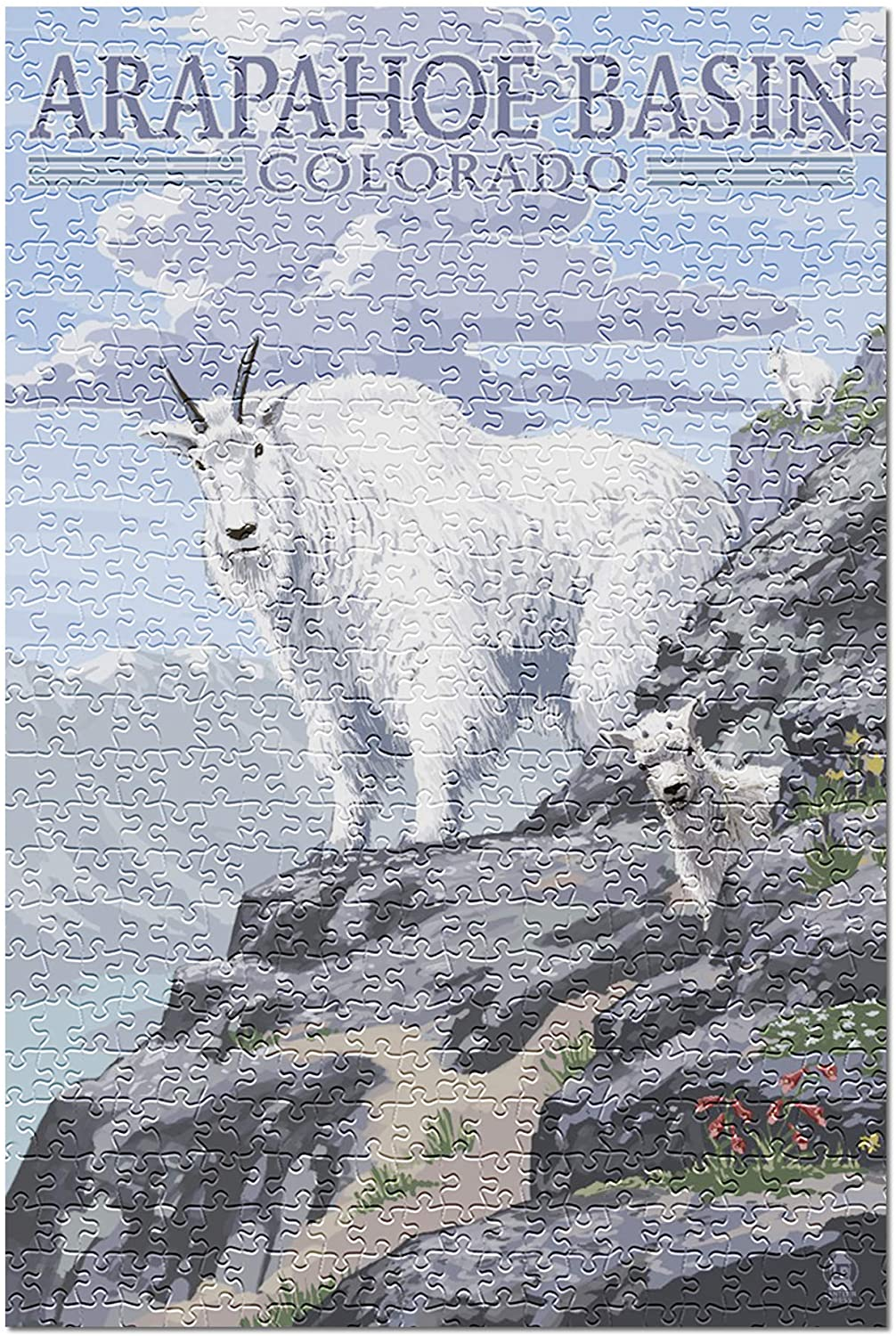 Arapahoe Basin, Colorado - Mountain Goat and Kid 87972 (Premium 500 Piece Jigsaw Puzzle for Adults, 13x19, Made in USA!)