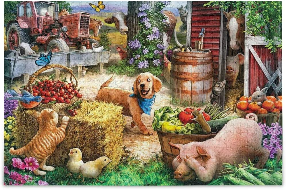 vvfelixl Farm Animals Playing Hide and Seek Jigsaw Puzzle 1000 Pieces Wooden Puzzles DIY Gift Fun Family Game Puzzles for Adults and Kids