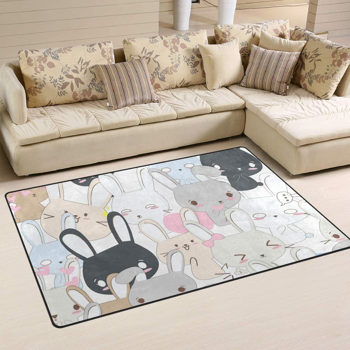 ALAZA Children Area Rug,Lovely Funny Rabbit Bunny Floor Rug Non-Slip Doormat for Living Dining Dorm Room Bedroom Decor 31x20 Inch