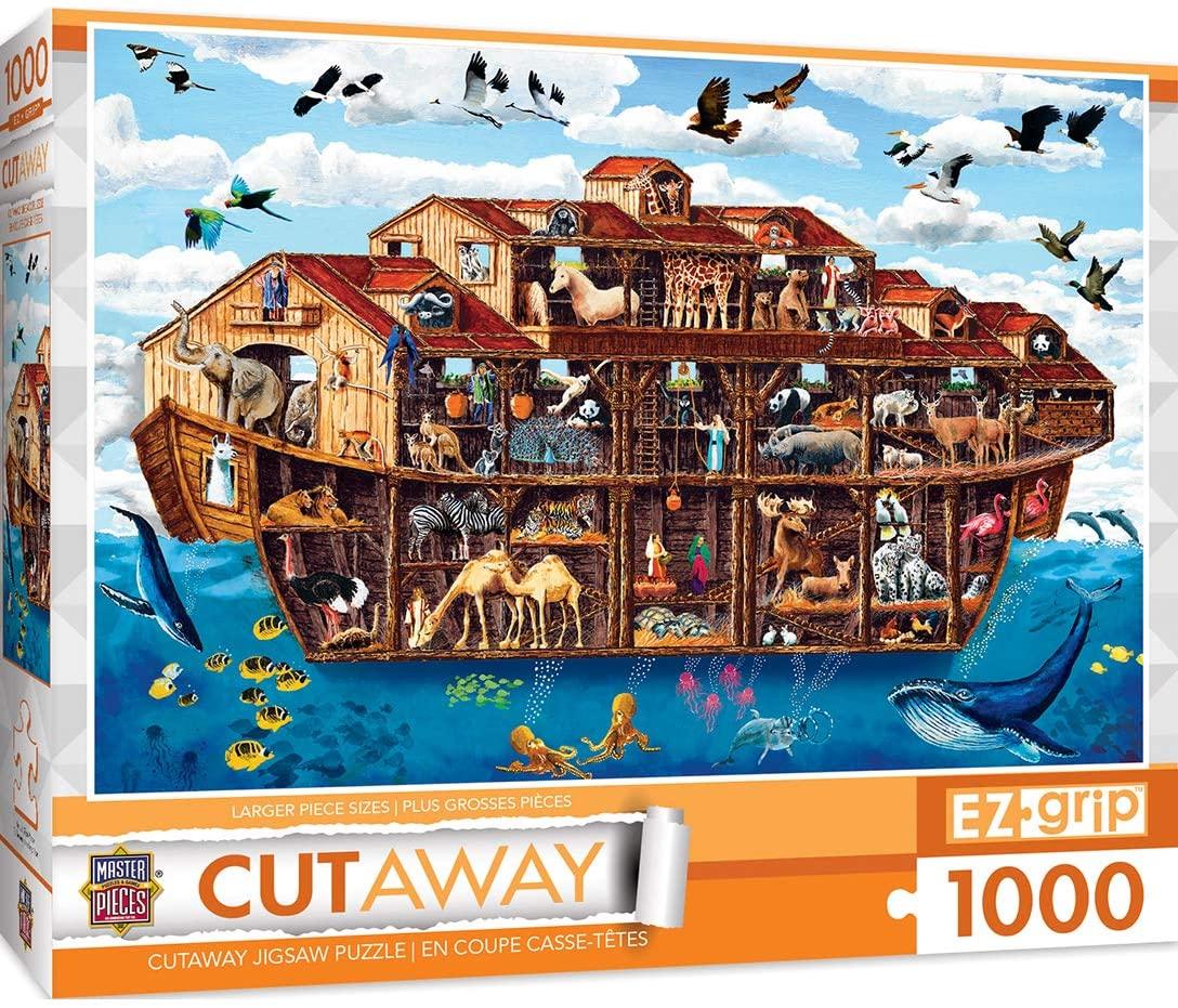 MasterPieces EZGrip Cut-Aways Extra Large Jigsaw Puzzle, Noahs Arc, Featuring Art by Art Poulin, 1000 Pieces
