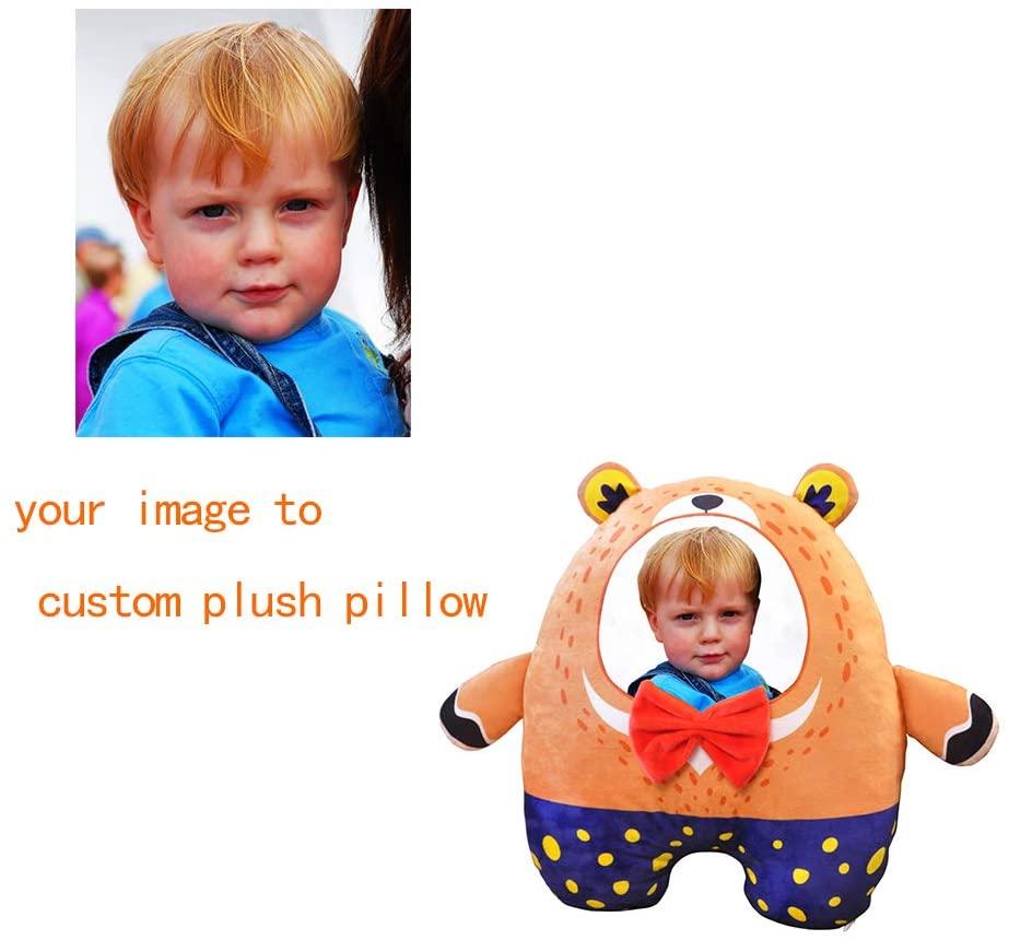 KIKISHOPQ Custom Design Photo Outdoor/Indoor Throw Pillow Personalized Pet Photo Pillow(Little Orange Bear 17.721.7)