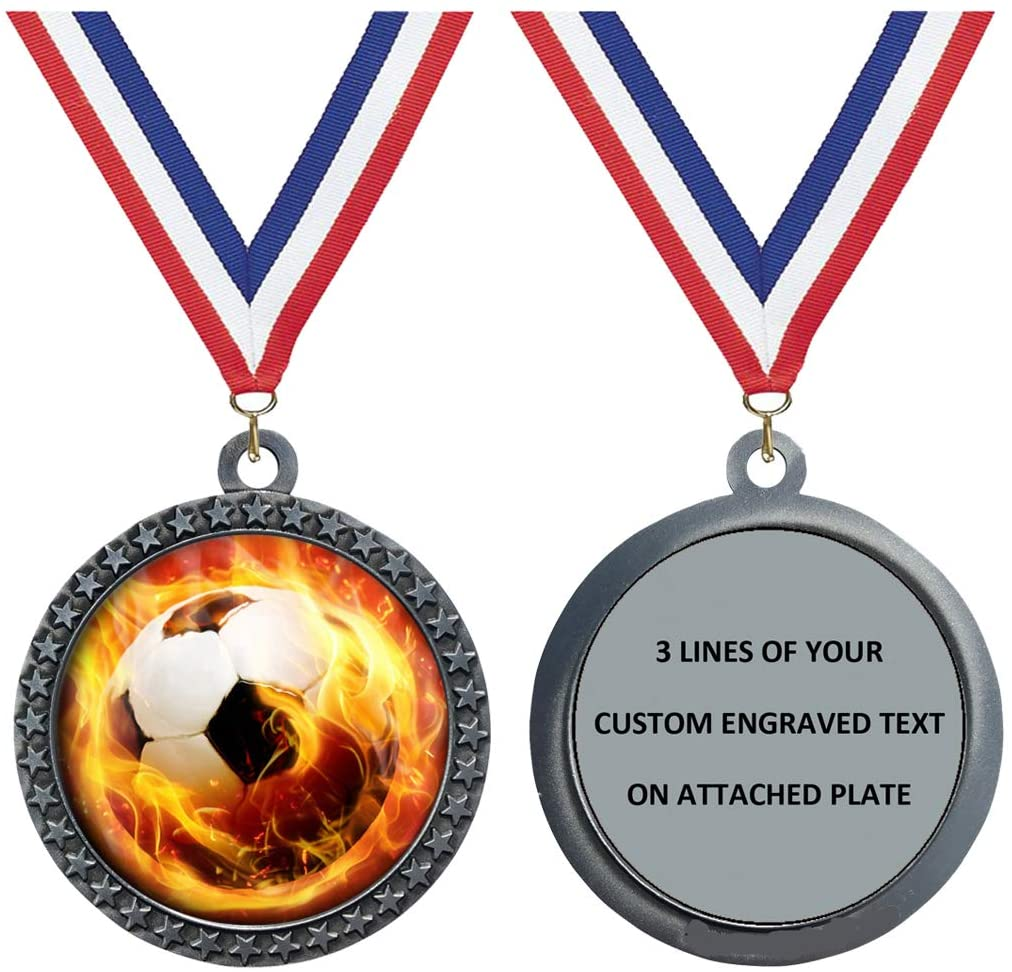 Express Medals Engraved 1 to 50 Packs Engraved Flame Soccer Silver Medal Trophy Award with Personalized Custom Text LD212-EMFCL809