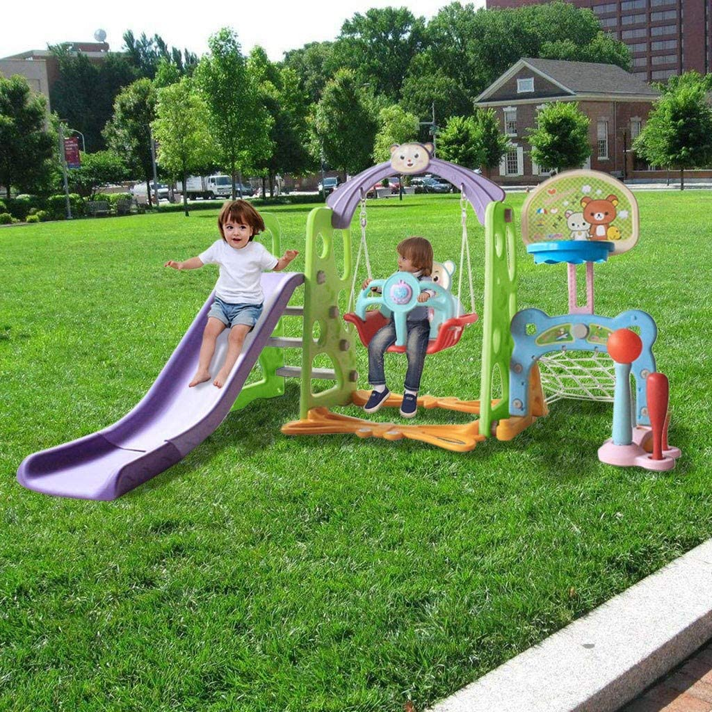 Toddler Climber and Swing Set, 6 in 6 Kids Indoor & Outdoor Slide Swing Playset