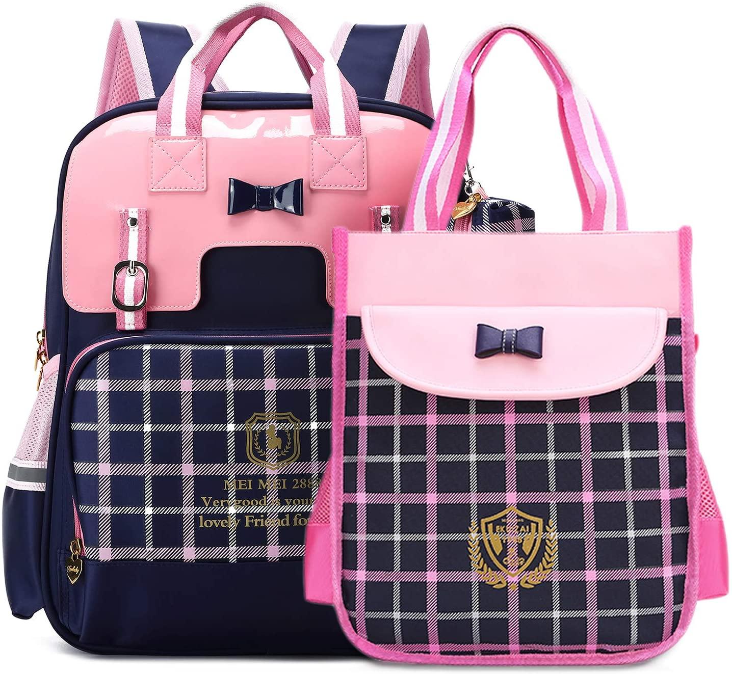 British Style Girls Backpacks for School Princess Bowknot Kids Bookbags (Small, Navy)