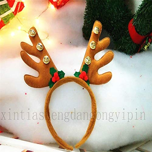 TOYMYTOY Reindeer Antlers Headband with Bells Christmas Dress Costumes Accessory (Brown)
