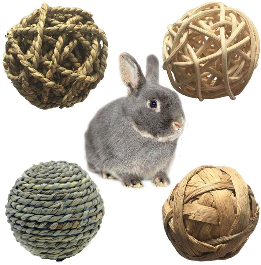POPETPOP Rabbit Chew Toys-4 Pack Gerbil Chew Toys Small Animal Activity Toy for Bunny Rabbits Guinea Pigs Gerbils Grass Toys