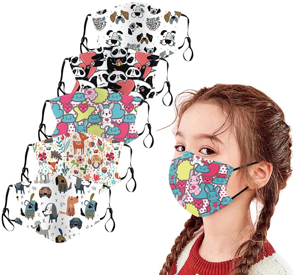 Gerichy 5PC Children Cotton Face_Masks Washable Reusable Cute Cartoon Print Breathable Face Bandana for Kids Toddlers School Supplies Daily Use
