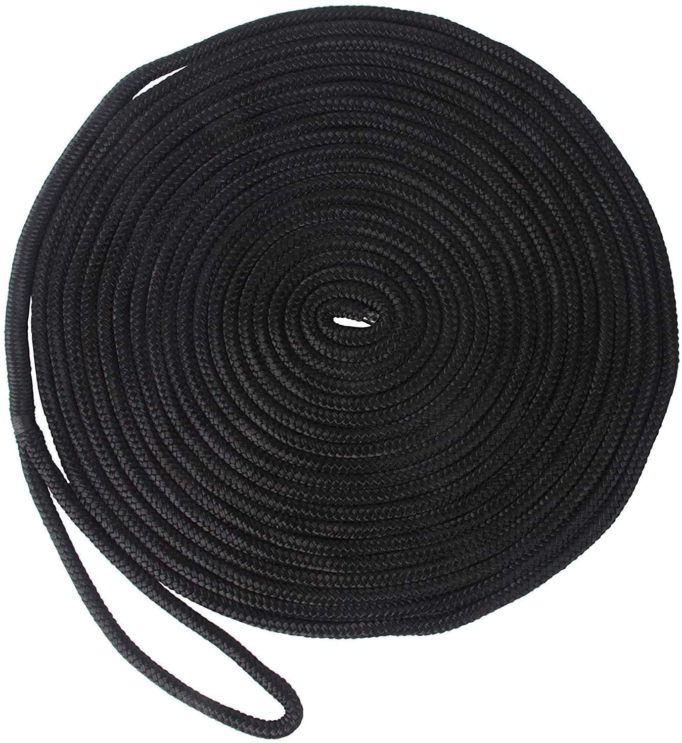 SILANON Double Braided Nylon Docking Lines- Premium Mooring Lines for Boats 3/8 inch 1/2 inch 5/8 inch Marine Anchor Rope with 12 inch Eyelet L: 16.5 FT 25 FT 50 FT