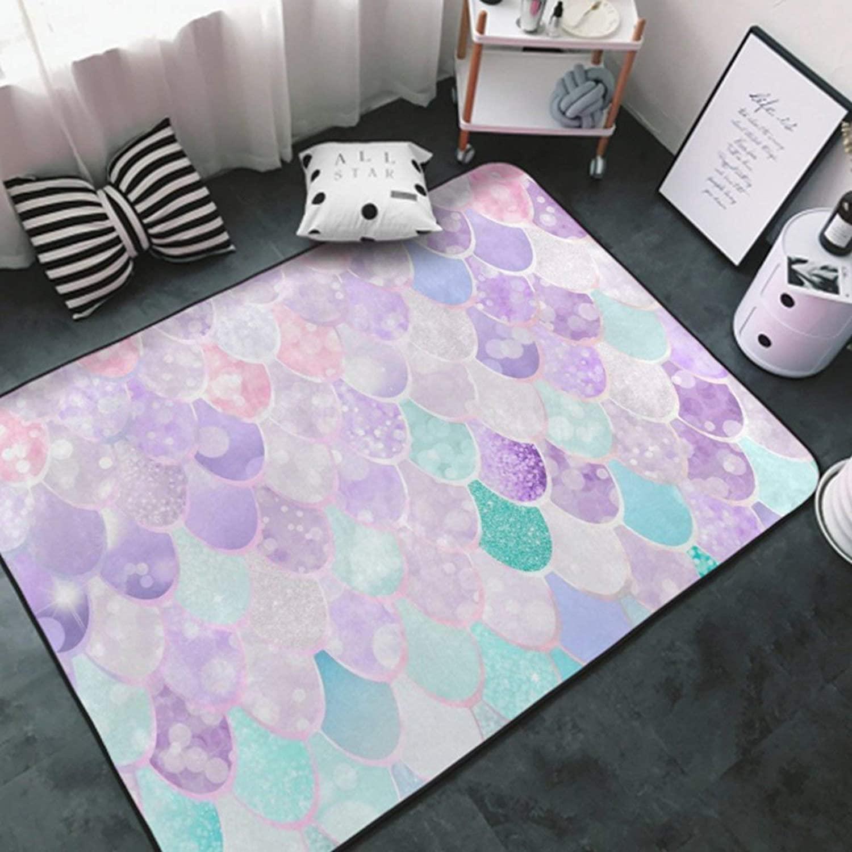 Area Rug Premium Non-Slip Area Carpet White-Mermaid Fish Scales Art5 Rug Doormat for Girls Bedroom, Play Room, Nursery, Playroom Area Rugs