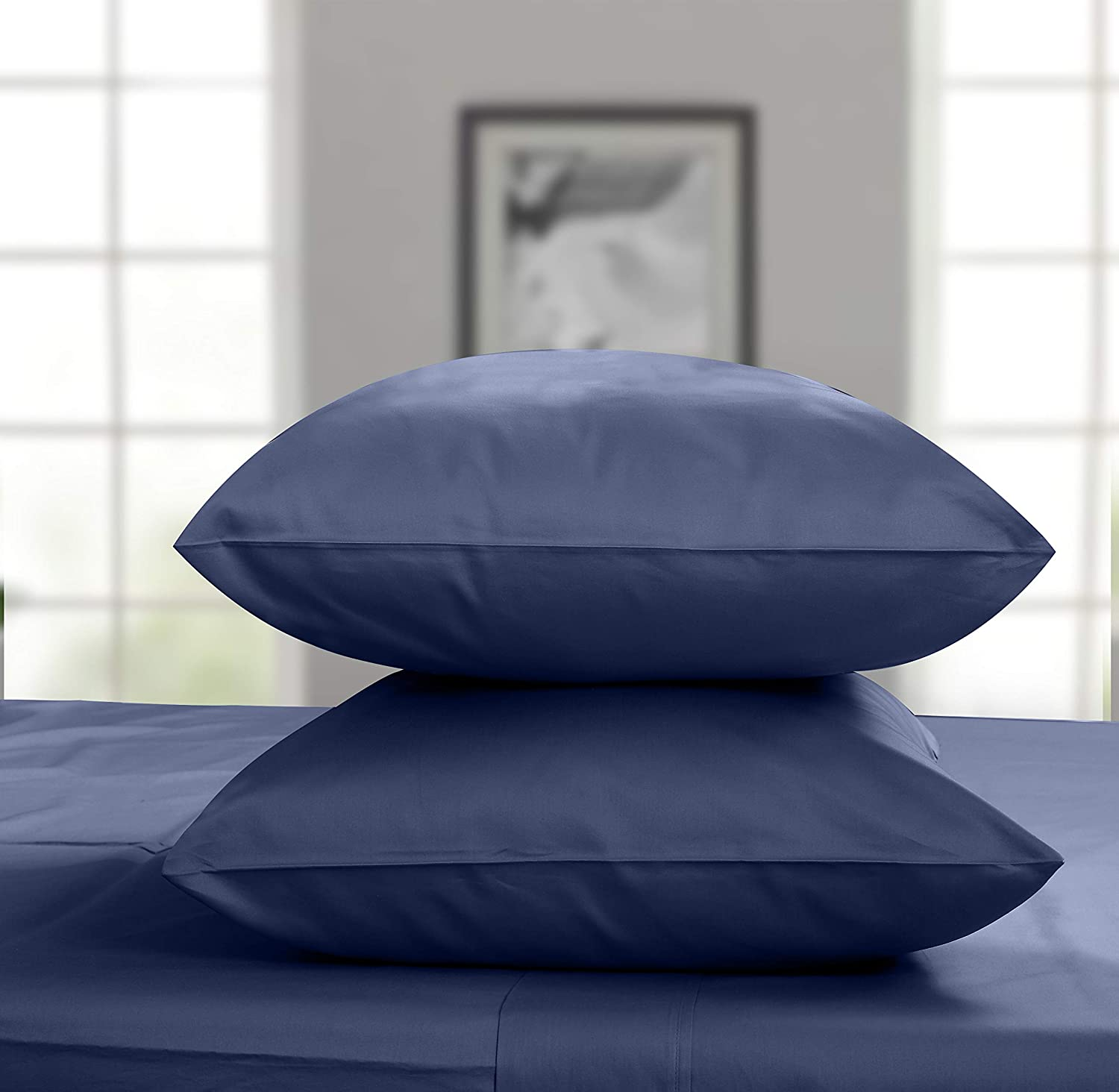 Threadmill Home Linen 600 Thread Count King Pillowcase Set of 2-100% Cotton King Pillow Cases, Breathable Luxury Smooth Solid Sateen Folkstone Blue