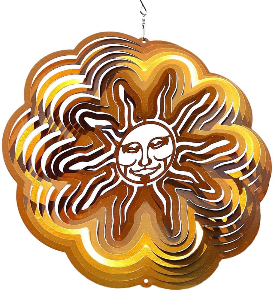 On-Airstore 3D Stainless Steel Wind Spinner Mandala Mystique 12 Inch Geometric Pattern Hanging Wind Spinner, Outdoor Garden Decoration Yard Décor Ornaments (Gold Sun)