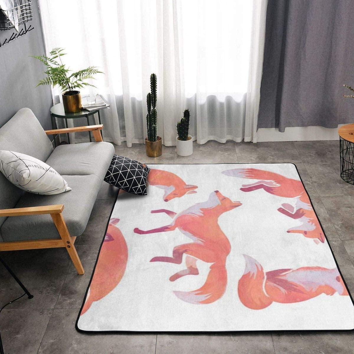 Area Rug Soft Fluffy Carpet for Bedroom Kids Teens Room, Modern Floor Mat Oversize Door Mat Plush Nursery Rugs for Boys Girls,Beautiful Fox,84x60 in