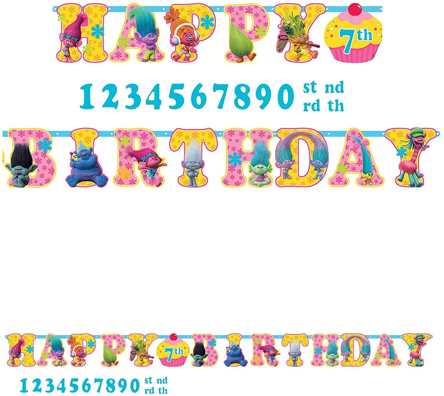 amscan Trolls The Movie Birthday Banner Add an Age Kit Birthday Party Supplies