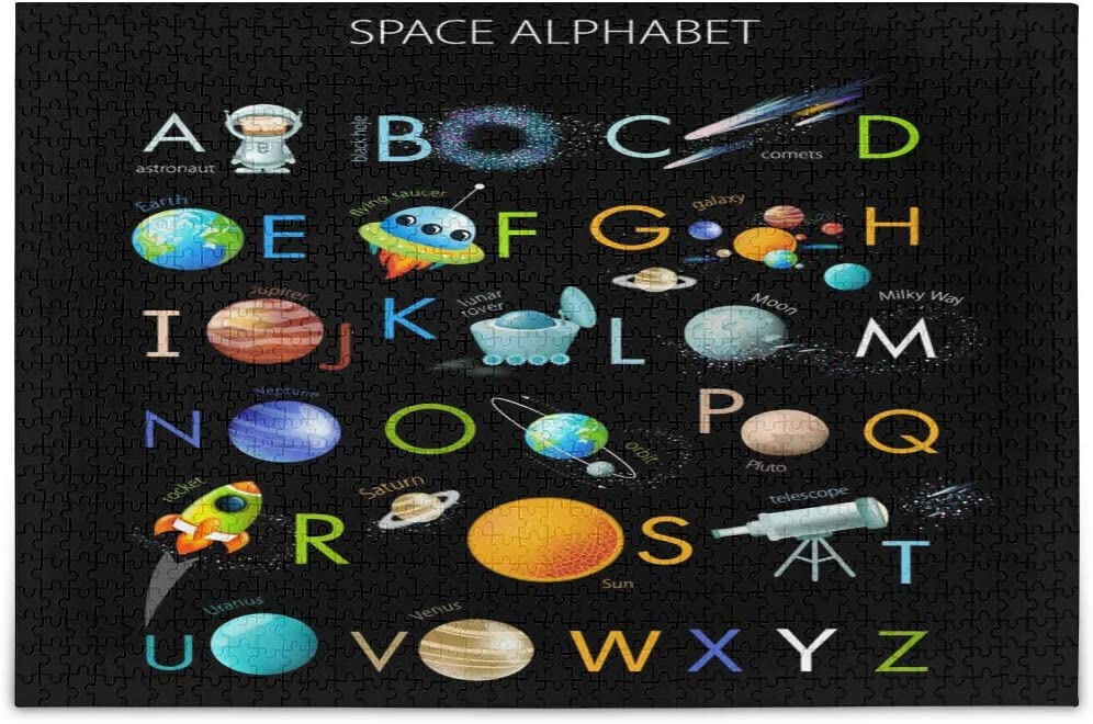 Space Alphabet On Black Jigsaw Puzzles for Adults Kids DIY Gift 500 Piece with Mesh Storage Bag
