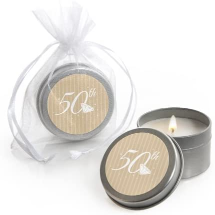 50th Anniversary - Candle Tin Wedding Anniversary Party Favors - Set of 12