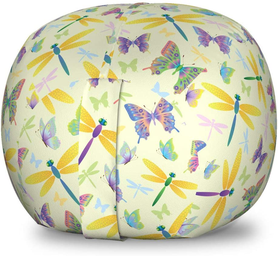 Lunarable Dragonfly Storage Toy Bag Chair, Butterflies Wings Spring Inspiration Flying Bugs Firefly Kids Girls Theme, Stuffed Animal Organizer Washable Bag for Kids, Small Size, Multicolor