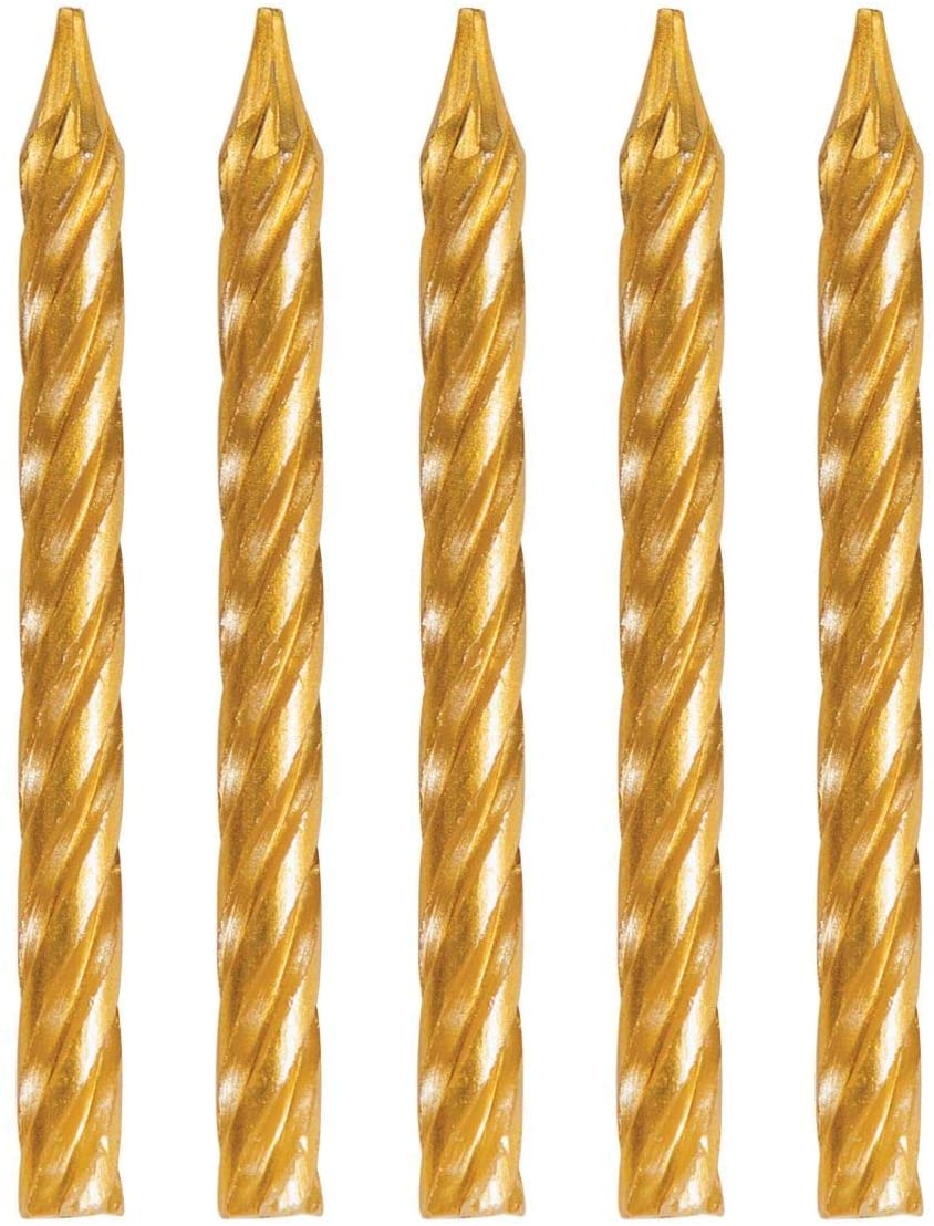Party Central Club Pack of 288 Gold Spiral Birthday Candles 2.25